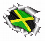 Ripped Torn Metal Design With Jamaica Jamaican Flag Motif External Vinyl Car Sticker 105x130mm